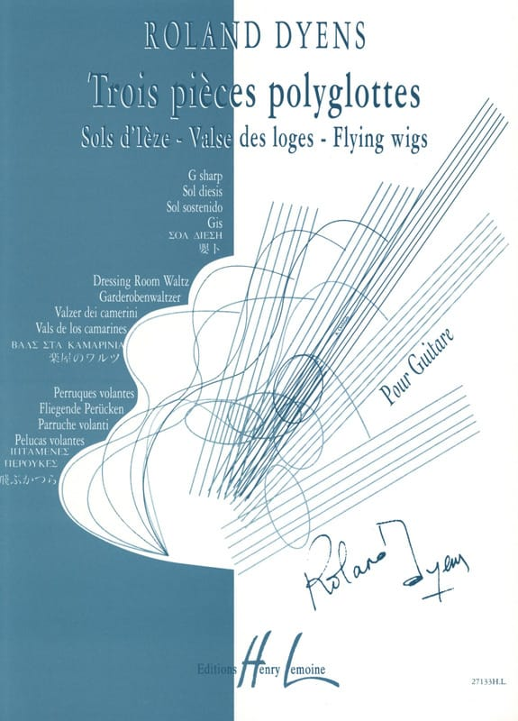 3 Pièces polyglottes - Roland Dyens - Partition - laflutedepan.com