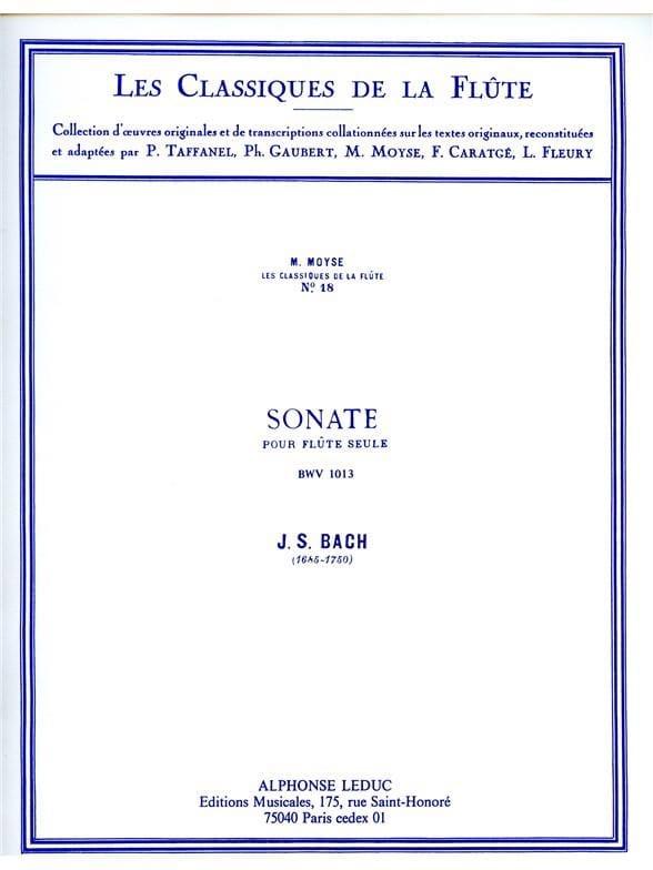 BACH - Sonate Partita en la mineur BWV 1013 - Flûte seule - Partition - di-arezzo.fr