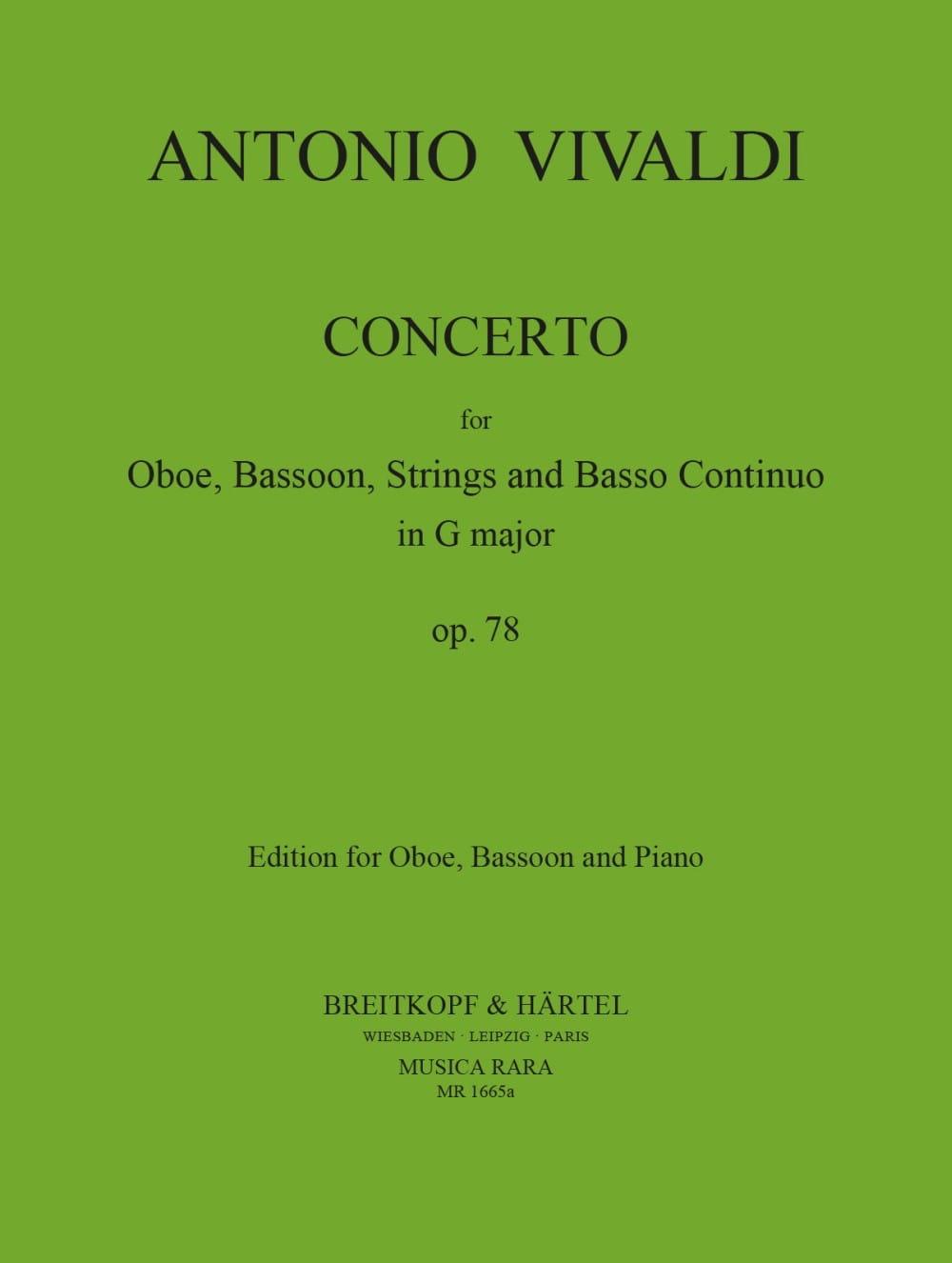VIVALDI - Concierto en G Major RV 545 - Oboe Bassoon Piano - Partition - di-arezzo.es