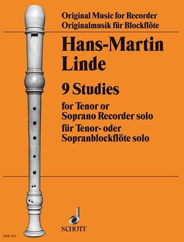 Hans-Martin Linde - 9 Studies - tenor or soprano solo recorder - Partition - di-arezzo.com