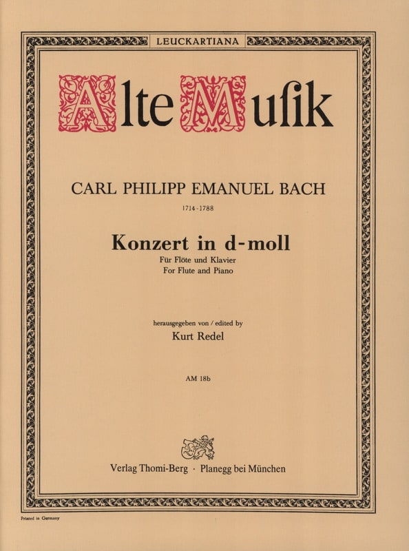 Carl Philipp Emanuel Bach - Konzert In D-Moll Wotq 22 - Klavier Flute - Partition - di-arezzo.co.uk
