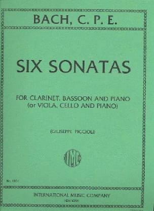 Carl Philipp Emanuel Bach - 6 Sonatas -Clarinet bassoon piano - Partition - di-arezzo.fr