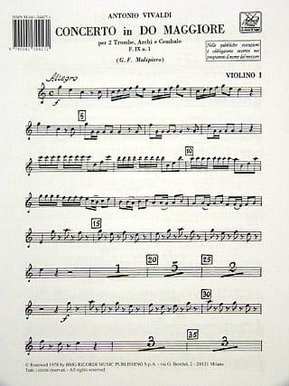 VIVALDI - Concerto in C Maj. - F. 9 n ° 1 - Equipment - Partition - di-arezzo.co.uk