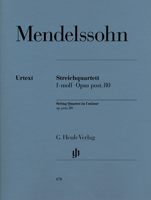 MENDELSSOHN - String quartet in F minor op. post. 80 - Partition - di-arezzo.co.uk