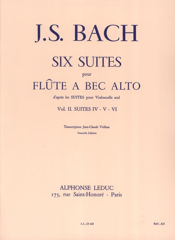 BACH - 6 Suites - Volume 2 - Alto Recorder - Partition - di-arezzo.com