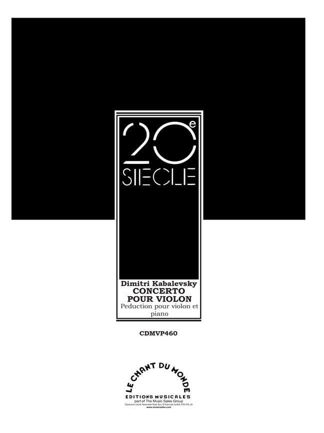 Dimitri Kabalevski - Concerto pour Violon Opus 48 - Partition - di-arezzo.fr