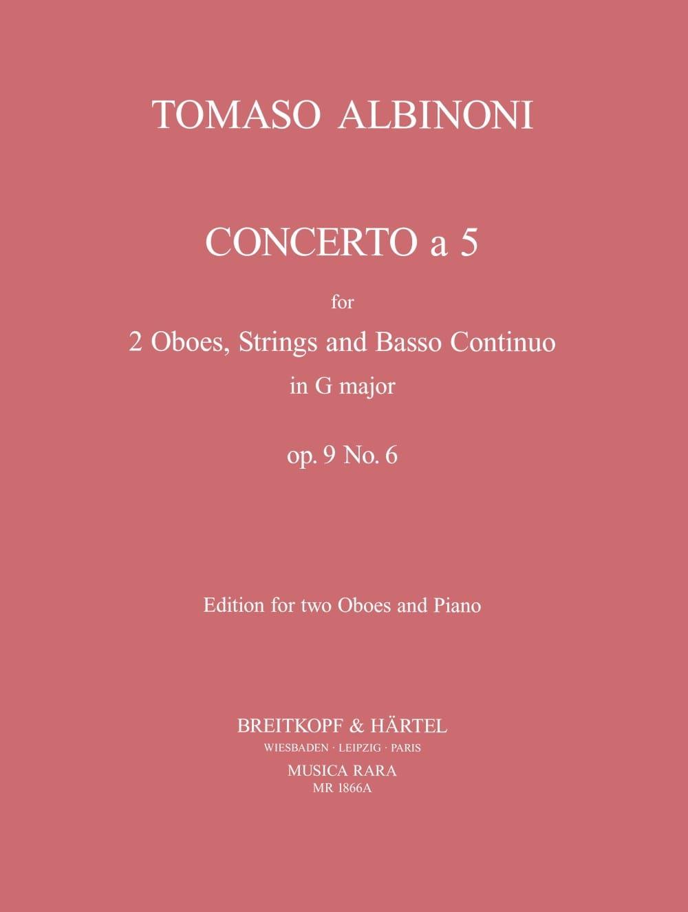 Concerto a 5 op. 9 n° 6 - 2 Oboes piano - laflutedepan.com