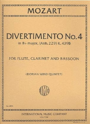 MOZART - Divertimento No. 4 KV 439d in Bb Major - Parts - Partition - di-arezzo.co.uk