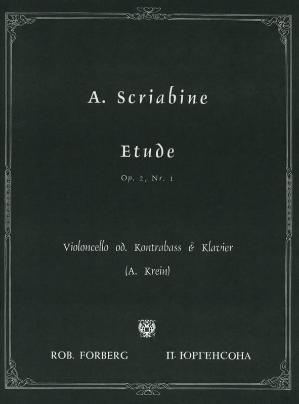 Etude op. 2 n° 1 - Cello Contrebasse - SCRIABINE - laflutedepan.com