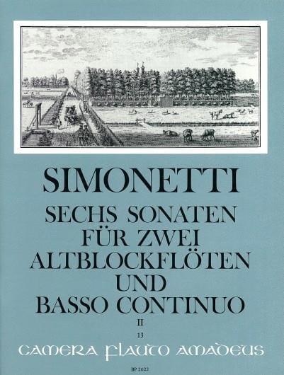 6 Sonaten op. 2 Bd. 2 : Nr. 4-6 -2 Altblockflöten Bc - laflutedepan.com