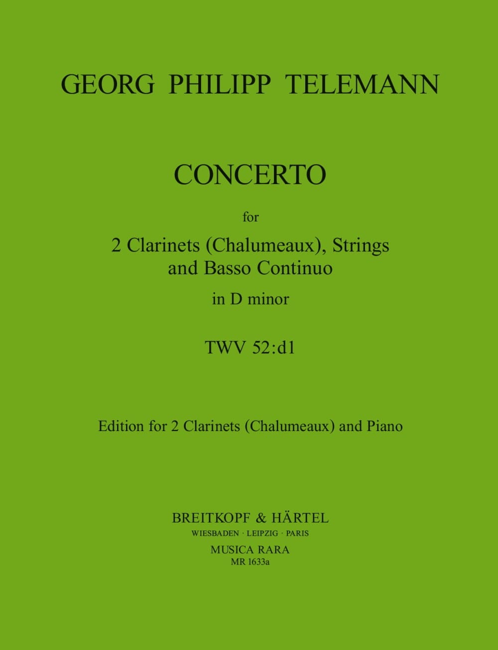 Concerto TWV 52 : D1 - 2 Clarinets Chalumeux piano - laflutedepan.com