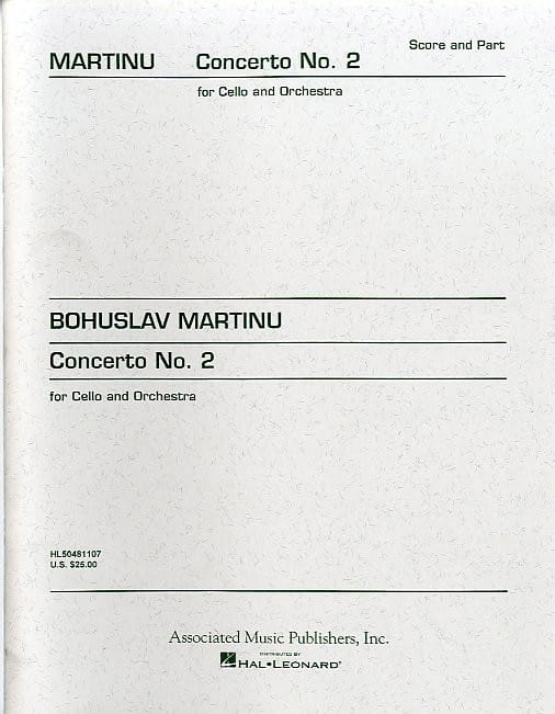 Bohuslav Martinu - Concerto No. 2 - Cello - Partition - di-arezzo.co.uk