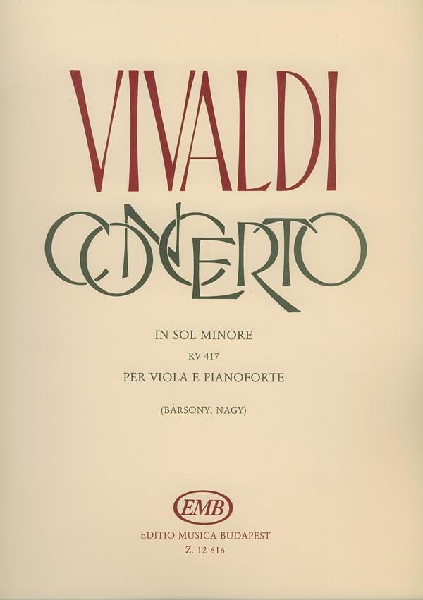 VIVALDI - Concerto in G minor, RV 417 - Alto - Partition - di-arezzo.co.uk