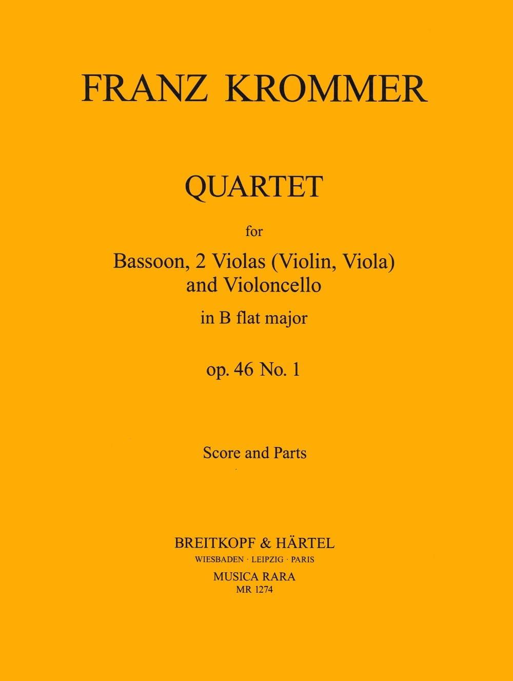 Quartet In B Flat Op. 46 N° 1 - KROMMER - Partition - laflutedepan.com