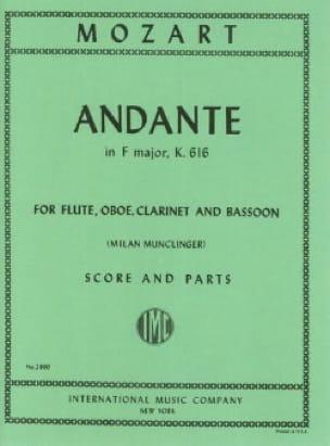 Andante F major KV 616 -Flute oboe clarinet bassoon - Score + parts - laflutedepan.com