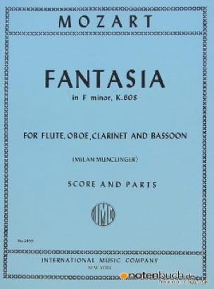 Fantasia in F minor KV 608 -Flute oboe clarinet bassoon - Score + parts - laflutedepan.com
