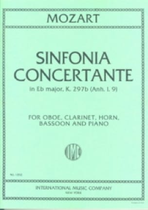 Sinfonia concertante KV 297b Anh. 1. 9 - oboe clarinette cor, bassoon piano - laflutedepan.com