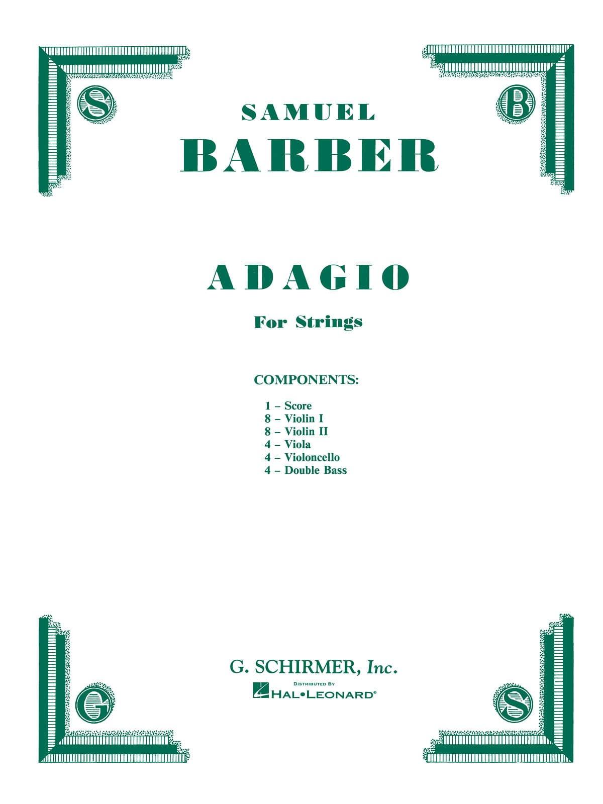Adagio Pour Cordes - Set Complet - BARBER - laflutedepan.com