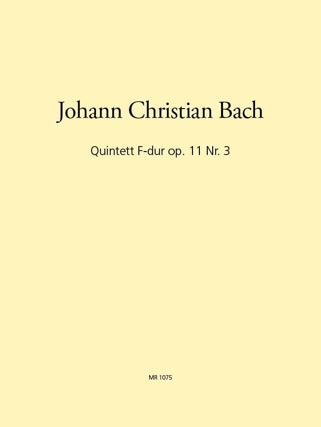 Johann Christian Bach - Quintet In F Fa M., Op. 11 N°3 - Flûte-Hautbois-Violon-Alto-B. C. - Partition - di-arezzo.fr