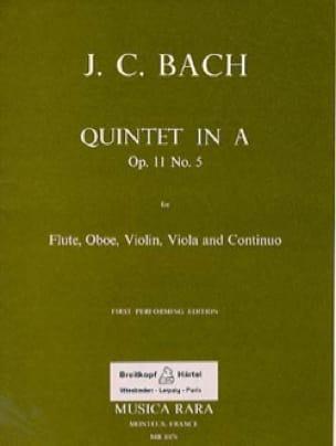 Johann Christian Bach - Quintet In A La M., Op. 11 N°5 - Flûte-Hautbois-Violon-Alto-B. C. - Partition - di-arezzo.fr