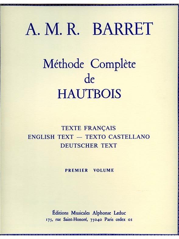 A. M. R. Barret - Méthode complète de hautbois - Volume 1 - Partition - di-arezzo.fr