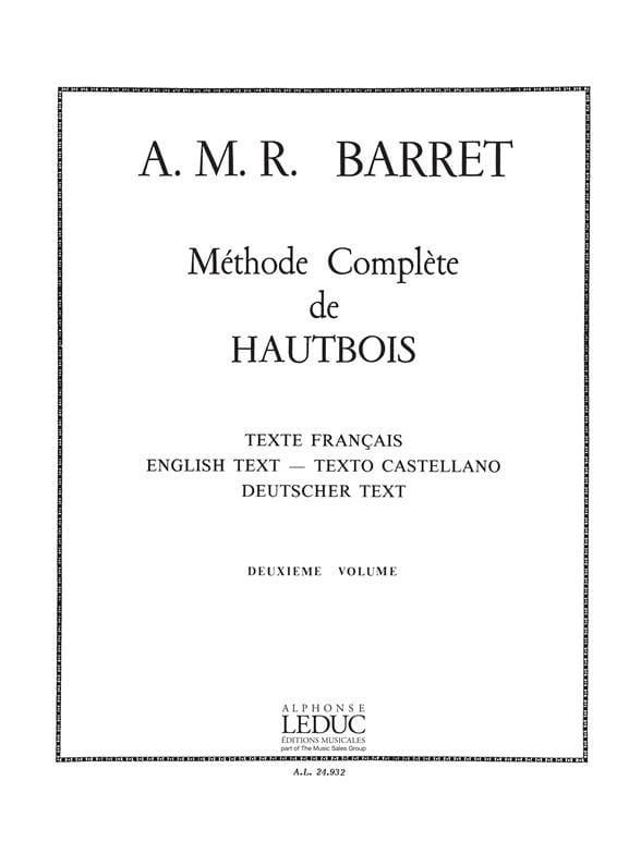 A. M. R. Barret - Méthode complète de hautbois - Volume 2 - Partition - di-arezzo.fr