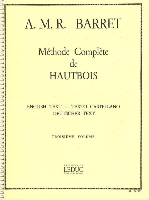 A. M. R. Barret - Complete Method of Oboe Volume 3 - Partition - di-arezzo.com