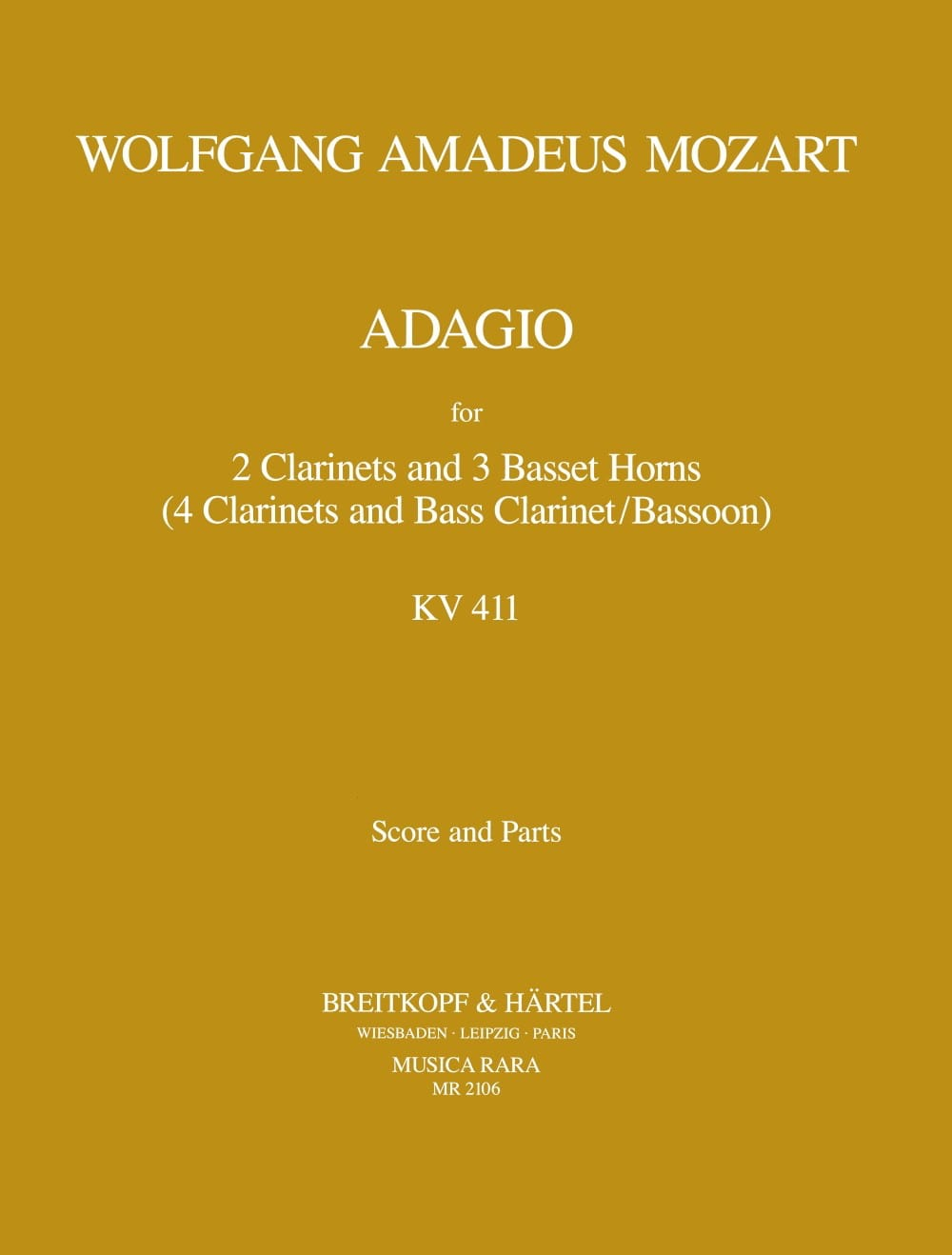 MOZART - Adagio, Kv 484a 411 - 2 Clarinets-3 Basset Horns - Partition - di-arezzo.co.uk