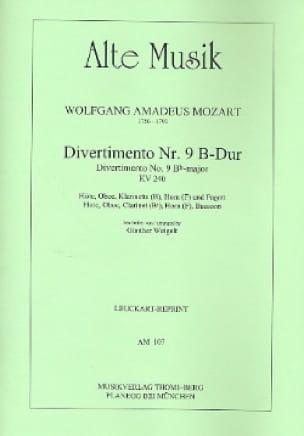 Divertimento Nr. 9 B-Dur KV 240 -Bläserquintett - Stimmen - laflutedepan.com