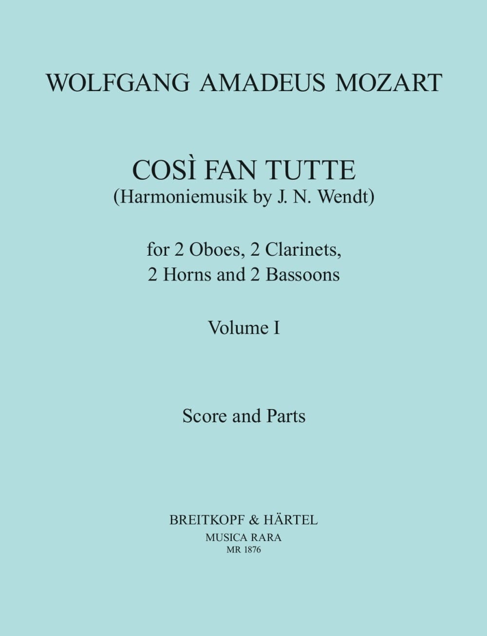 MOZART - Cosi Fan Tutte Volume 1 - harmoniemusik - Score Parts - Partition - di-arezzo.co.uk