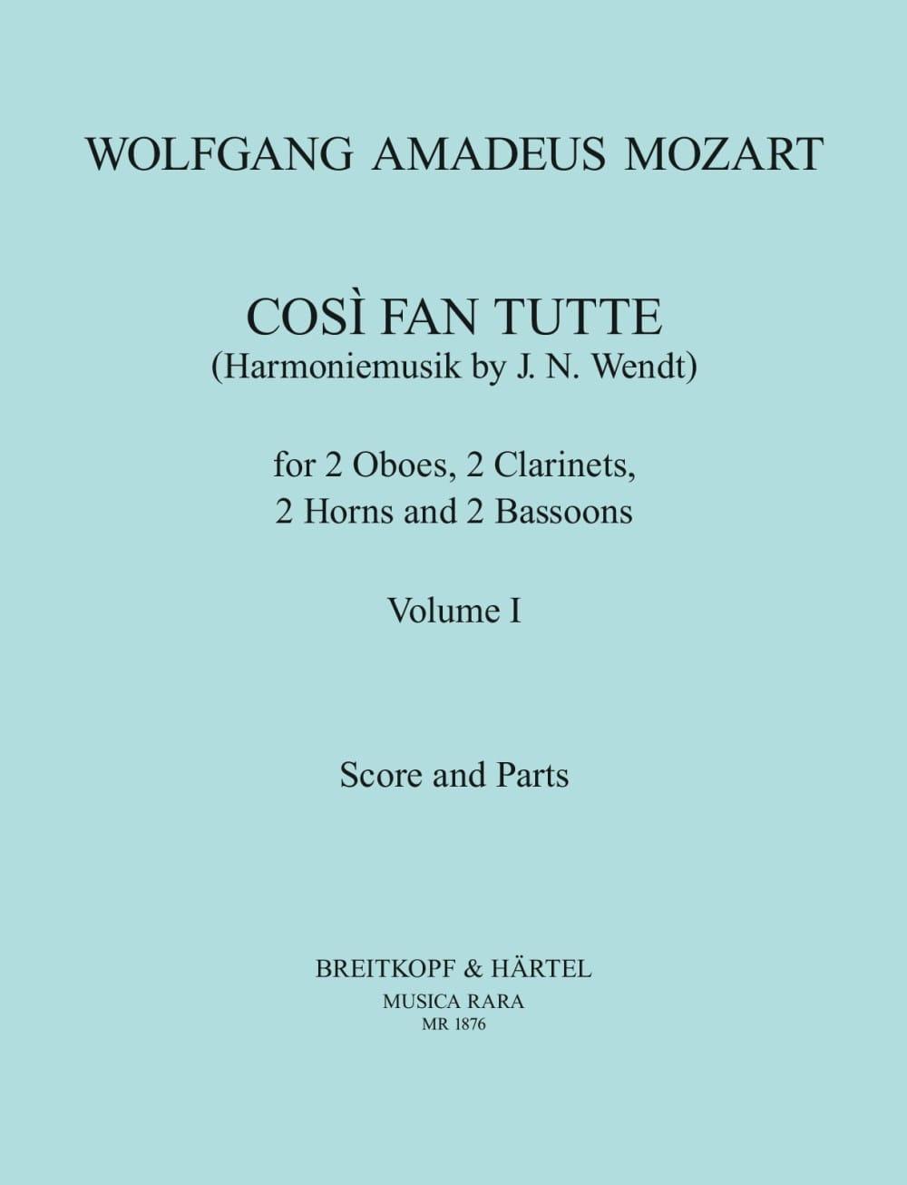 MOZART - Cosi Fan Tutte Volume 1 - harmoniemusik - Score Parts - Partition - di-arezzo.co.uk