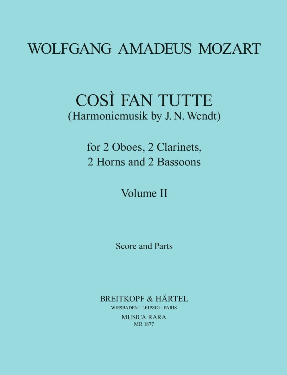 MOZART - Cosi Fan Tutte Volume 2 - Harmoniemusik - Score parts - Partition - di-arezzo.co.uk