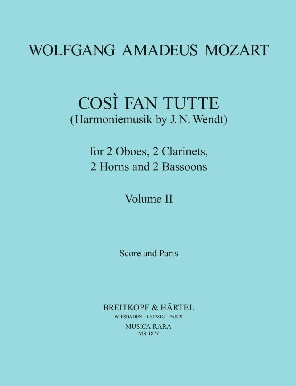 MOZART - Cosi Fan Tutte Volume 2 - Harmoniemusik - Score parts - Partition - di-arezzo.co.uk