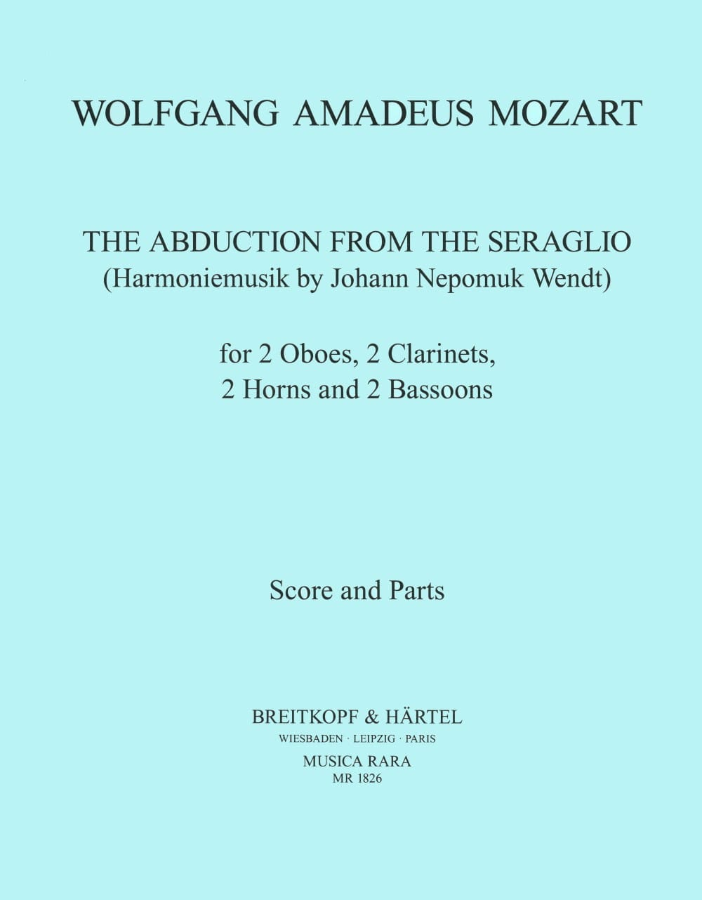 The abduction from the seraglio - Harmoniemusik - Score + parts - laflutedepan.com