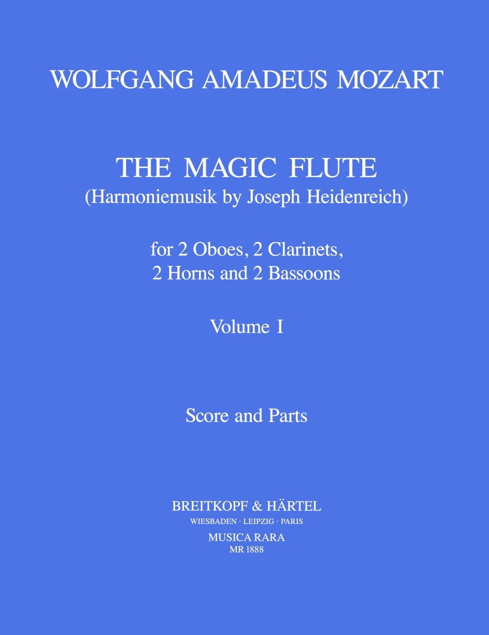 MOZART - The magic flute Volume 1 - Harmoniemusik - Score parts - Partition - di-arezzo.co.uk