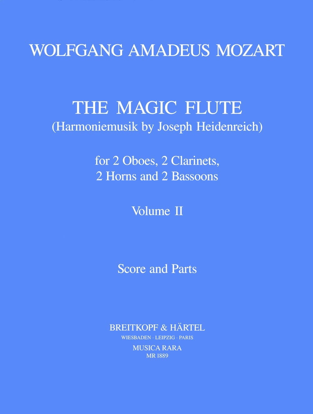 MOZART - The magic flute Volume 2 - Harmoniemusik - Score parts - Partition - di-arezzo.co.uk