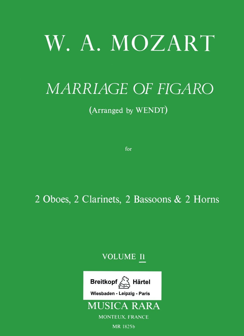 MOZART - The Nozze di Figaro Volume 2 - Harmoniemusik - Score Parts - Partition - di-arezzo.co.uk