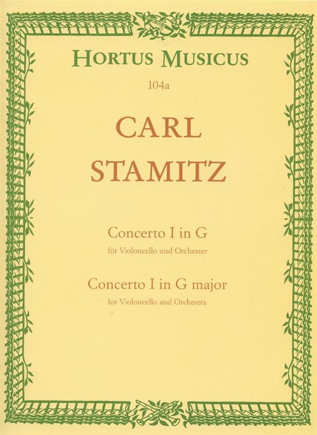 Carl Stamitz - Concerto No. 1 G major - Cello piano - Partition - di-arezzo.co.uk
