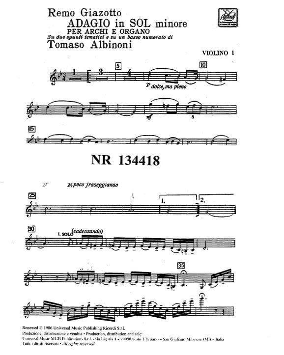 Adagio in sol minore - Matériel - laflutedepan.com