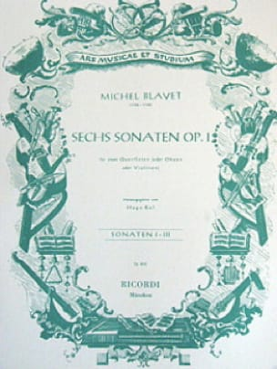 6 Sonaten op. 1 - Bd. 1 - 2 Flöten o. Oboen, Violinen - laflutedepan.com