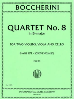 Quartet n° 8 B flat major - Parts - BOCCHERINI - laflutedepan.com