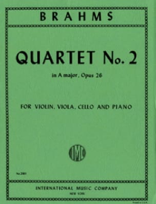 BRAHMS - Quartet n ° 2 A major op. 26 - Parts - Partition - di-arezzo.com