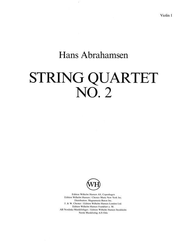 String quartet n° 2 - Parts - Hans Abrahamsen - laflutedepan.com
