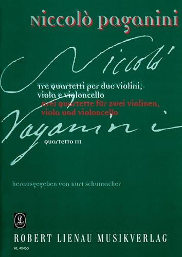 Quartetto n° 3 -Partitur + Stimmen - PAGANINI - laflutedepan.com
