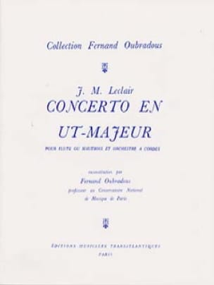Jean-Marie Leclair - Concerto in C Major, Op. 7 N ° 3 - Flute and Piano - Partition - di-arezzo.co.uk