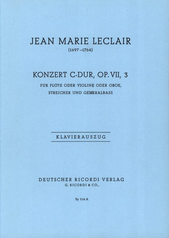 Jean-Marie Leclair - Concerto Do Major, Op. 7 N ° 3 - Partition - di-arezzo.co.uk