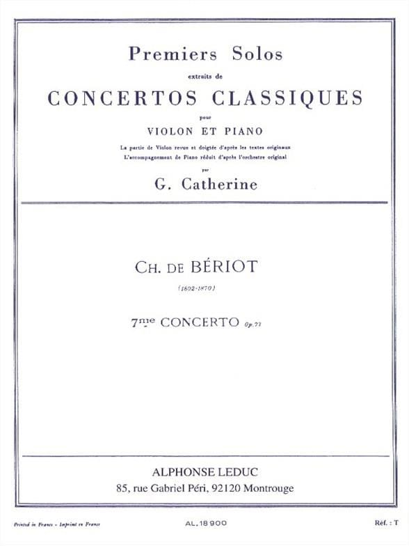BÉRIOT - 1st Solo of the Concerto n ° 7 op. 73 - Partition - di-arezzo.co.uk