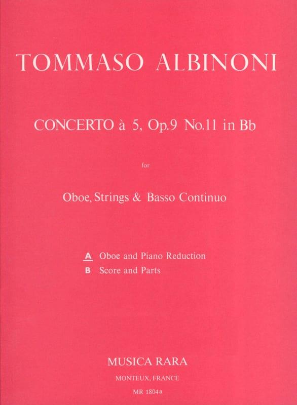 Tomaso Albinoni - Concerto has 5 op. 9 n ° 11 - Oboe piano - Partition - di-arezzo.com