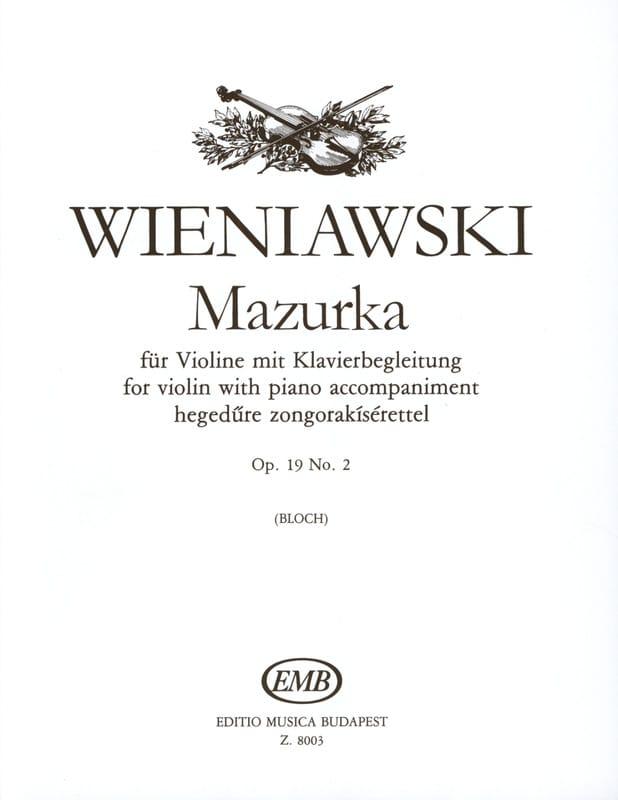 Mazurka op. 19 n° 2 - WIENAWSKI - Partition - laflutedepan.com