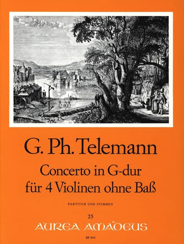 TELEMANN - Concerto en Sol Majeur Für 4 Violinen Ohne Bass Twv40:201 - Partition - di-arezzo.fr